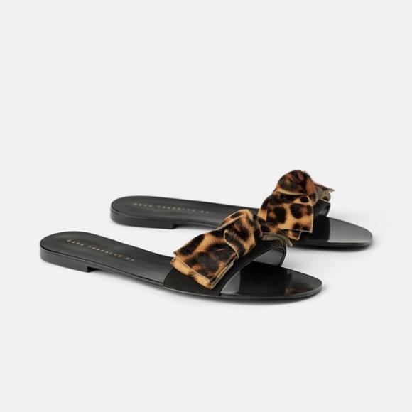 Zara animal print (leopard) sandals, 37, new